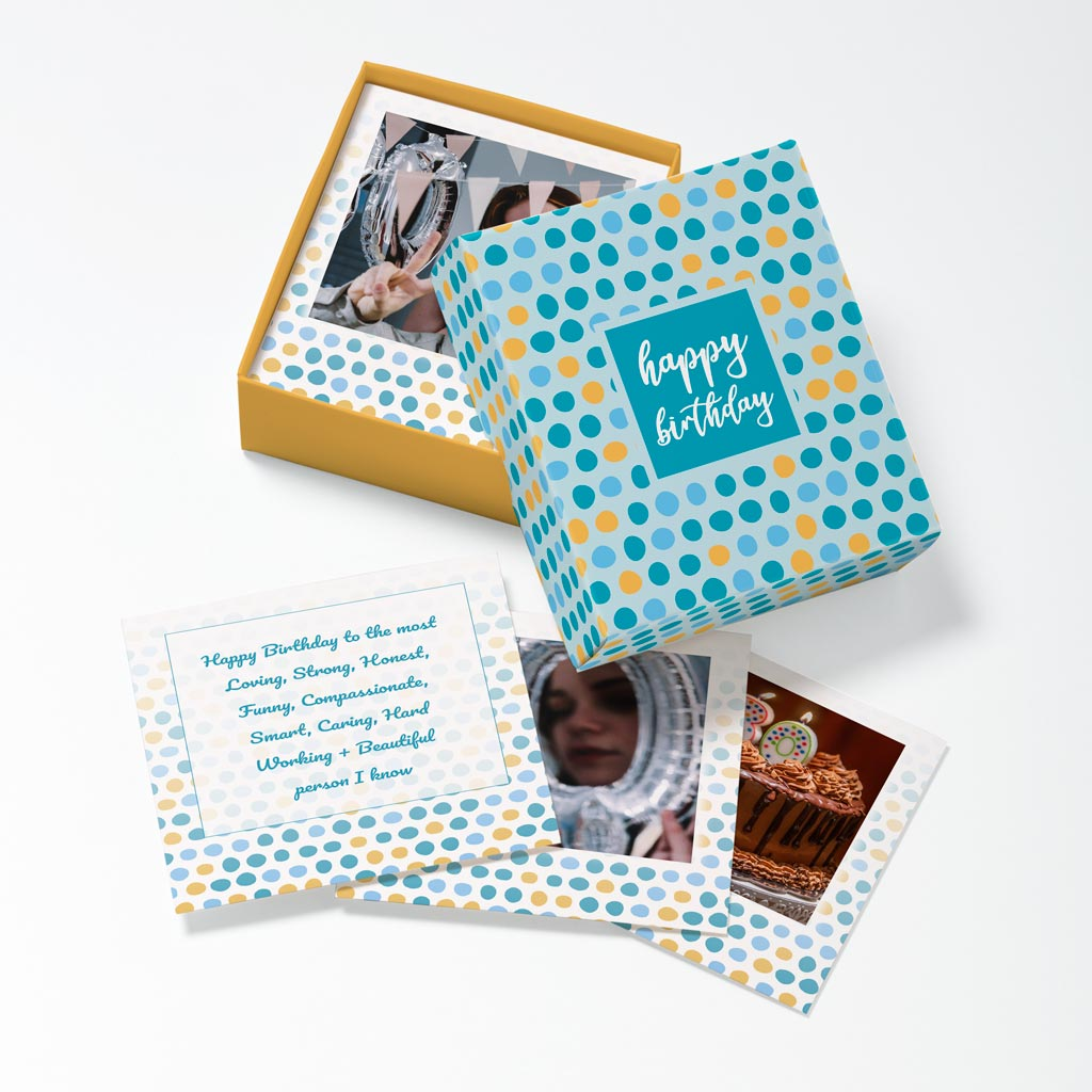 Opened Birthday Dots Photouch Box
