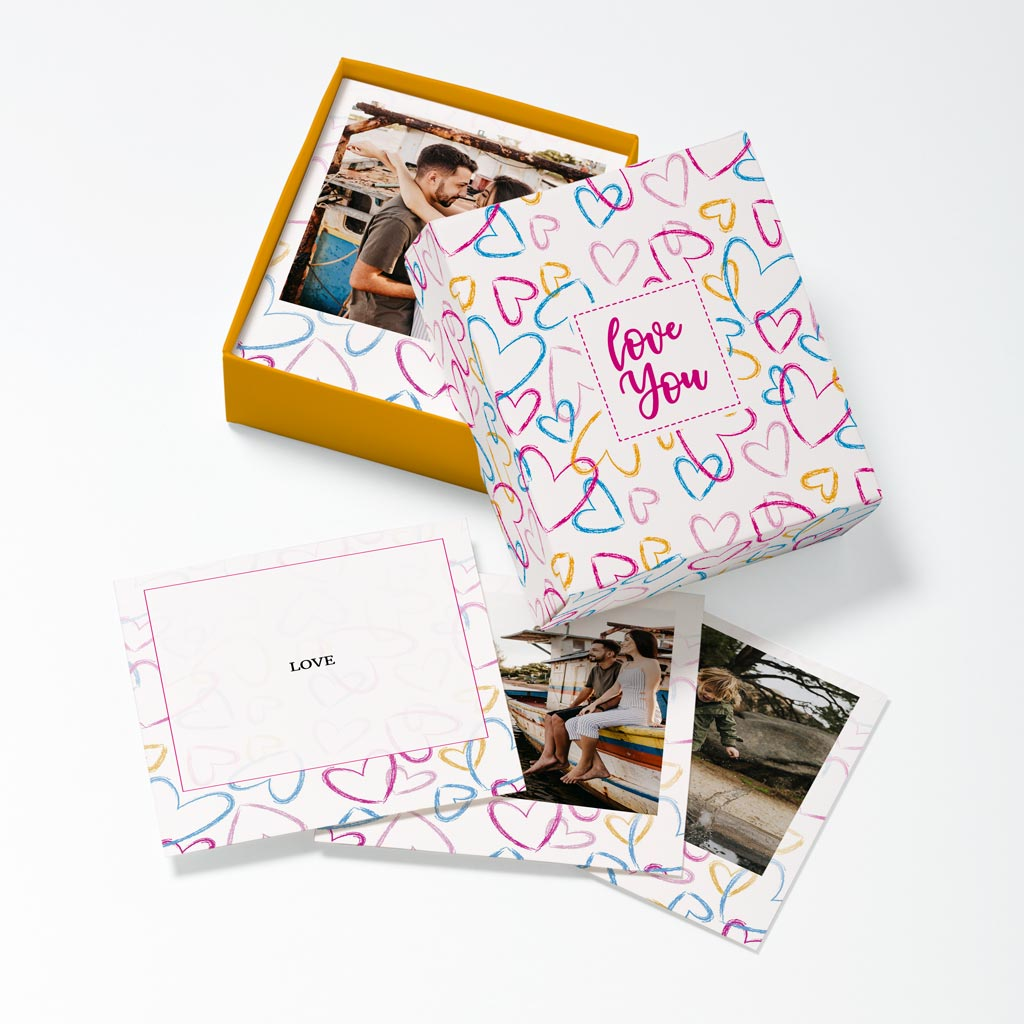 Opened Colour Hearts Photouch Box